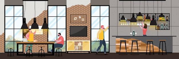 Modernes cafe-interieur im loft-stil mit vollem kunden