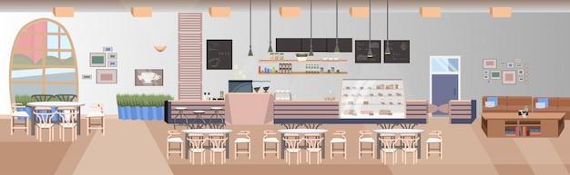 Modernes cafe leer keine menschen restaurant halle mit tischen und stühlen coffee shop interieur flache horizontale banner