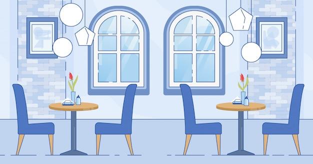 Modernes cafe-zimmer-interieur in blau-weißer farbe
