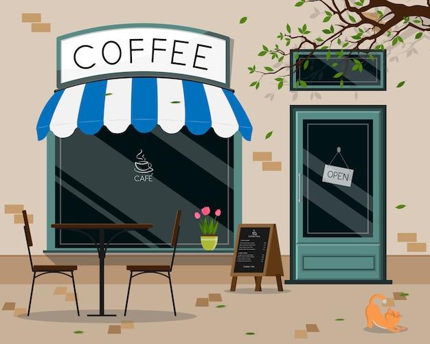 Modernes cafégeschäftsäußeres, terrasse des straßencafés im freien