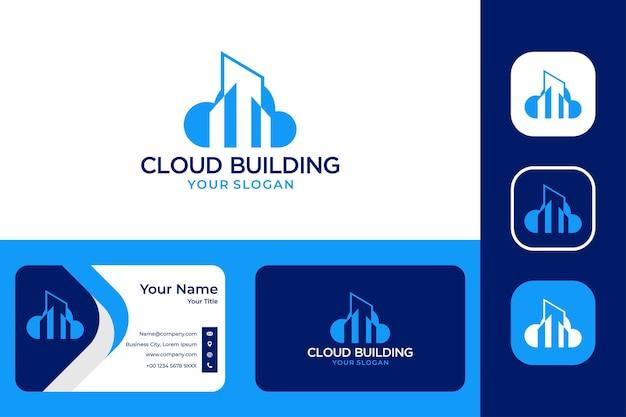 Modernes cloud-building-logo-design und visitenkarte