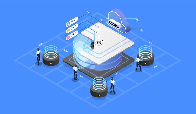 Modernes cloud-technologie- und netzwerkkonzept.
