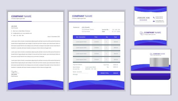 Modernes corporate identity design des briefpapiergeschäfts mit briefkopfschablone, rechnung und visitenkarte.