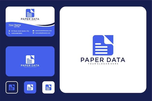 Modernes datenpapier-logo-design und visitenkarte