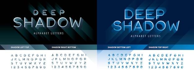 Modernes deep shadow alphabet buchstaben und zahlen, moderne linienstilschrift mit schattenentwurf