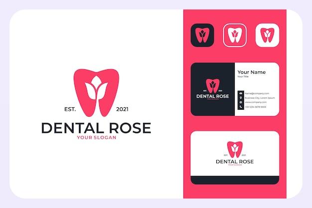 Modernes dental mit rosenlogo-design und visitenkarte
