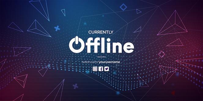Modernes derzeit offline-banner mit abstraktem hintergrund für twitch