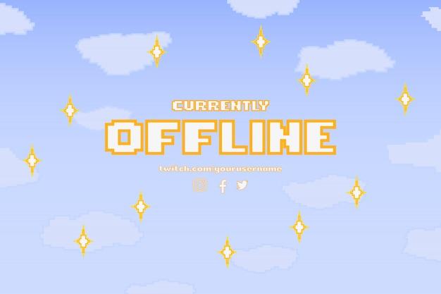 Modernes derzeit offline-banner mit pixel-design