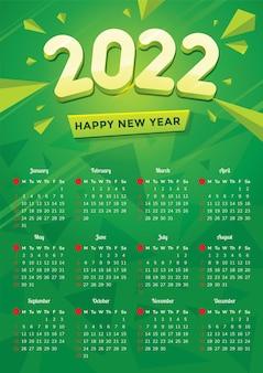 Modernes design 2022 kalendervorlage mit bunten formen und grünem hintergrund
