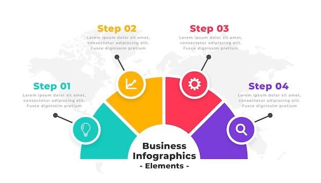 Modernes design der infografik mit vier schritten auf der zeitachse