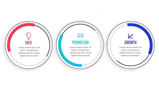 Modernes design der kreisförmigen infografikschablone mit drei schritten