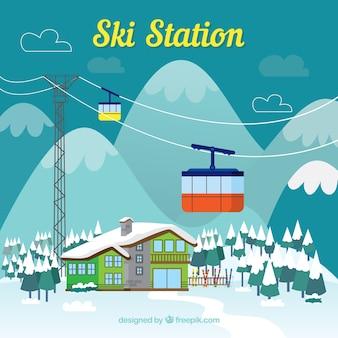 Modernes design der skistation