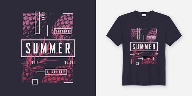 Modernes design des sommer-t-shirts und der kleidung mit gestylten ananas, typografie, druck, illustration. globale farbfelder.