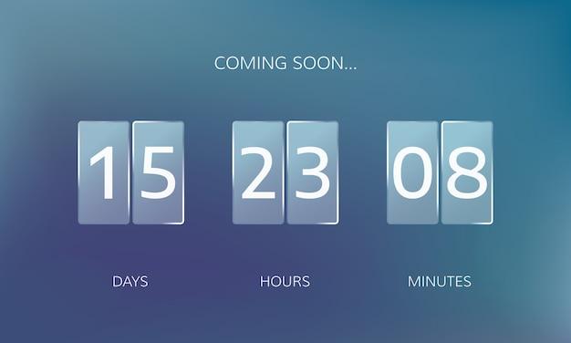Modernes design eines web-countdown-banners. konzept flacher countdown-zähler auf unschärfehintergrund