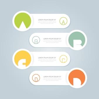 Modernes design infografik-vorlage im minimalistischen stil mit alphabet / kann für infografiken / nummerierte banner / horizontale ausschnittslinien / grafik- oder website-layout-vektor verwendet werden