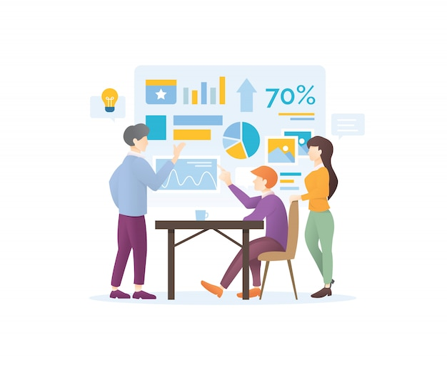 Modernes design-konzept der digitalen marketingstrategie