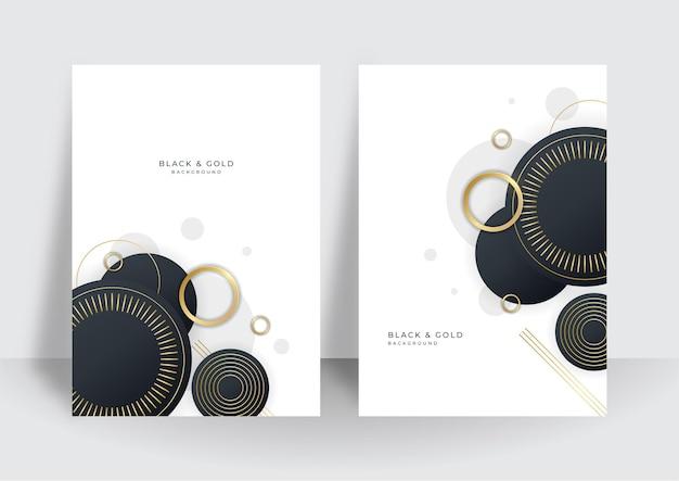 Modernes design-set für schwarzgoldene abdeckungen. luxuriöses kreatives goldenes dynamisches diagonales linienmuster. formaler premium-vektorhintergrund für geschäftsbroschüre, poster, notizbuch, menüvorlage