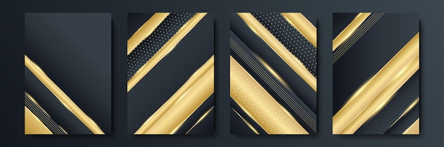 Modernes designset mit schwarzen streifen. luxuriöses kreatives goldenes dynamisches diagonales linienmuster. formaler premium-vektorhintergrund für geschäftsbroschüre, poster, notizbuch, menüvorlage