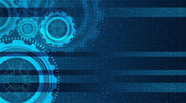 Modernes digitales technisches zahnrad und hahn auf technologiehintergrund, vektor