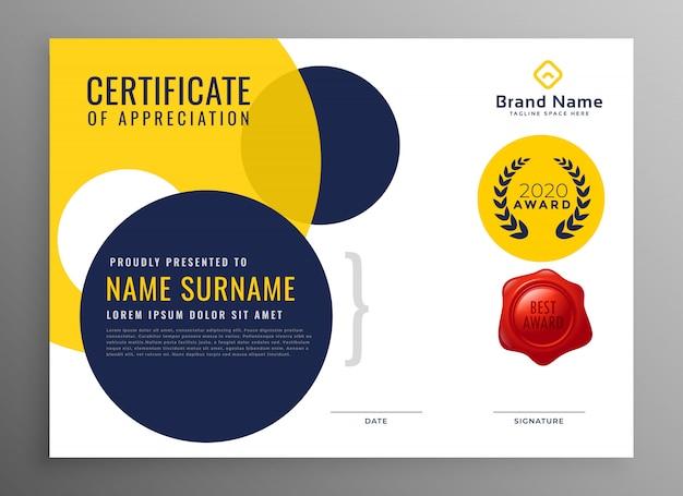 Modernes diplom zertifikat der wertschätzung design