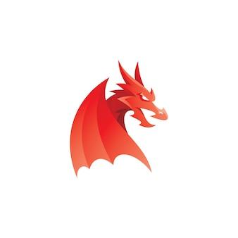 Modernes drachenkopf-flügel-maskottchen-logo-symbol