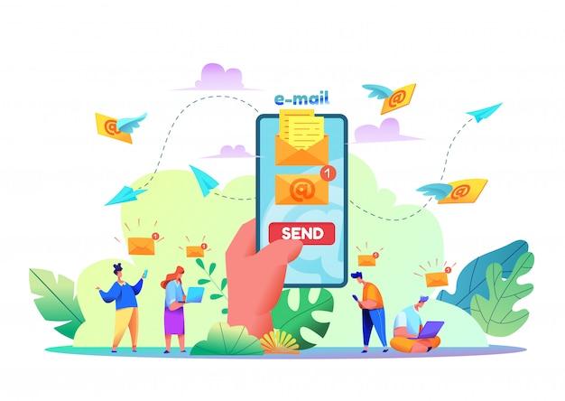 Modernes e-mail- und nachrichtenkonzept. karikaturhand, die modernes smartphone mit e-mail-umschlag mit sendeknopf auf bildschirm hält. e-mail-nachricht im handy-bildschirm. e-mail-marketing-services.