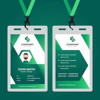 Modernes einfaches unternehmensgeschäftsschablonendesign der büroausweiskarte