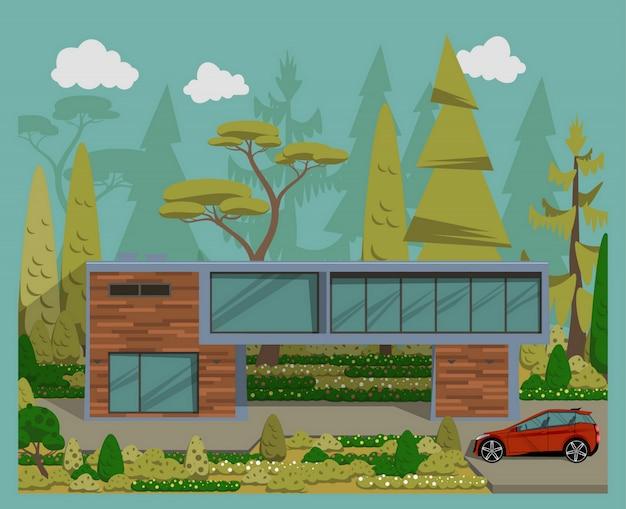 Modernes einfamilienhaus mit auto.