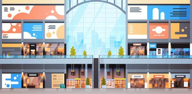 Modernes einkaufszentrum-innenraum-großes viele butiken