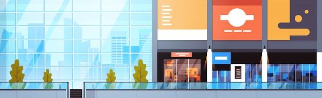 Modernes einkaufszentrum-leeres horizontales fahnen-großes städtisches einzelhandelsgeschäft