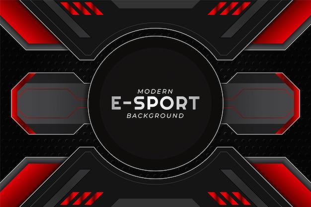 Modernes esport gaming banner kreis rot mit dunklem hintergrund