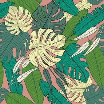 Modernes exotisches tropisches muster, nahtloses muster des botanischen blattes.