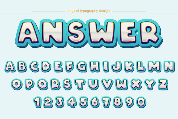 Modernes extravagantes abgerundetes comic-typografie-design