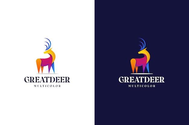Modernes farbverlauf-hirsch-logo bunt abstrakt