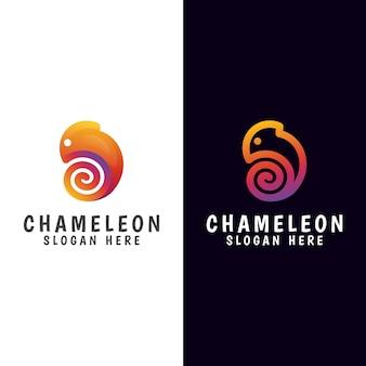 Modernes farbverlaufs-chamäleon-logo mit zwei versionen