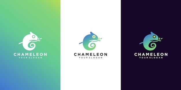 Modernes farbverlaufs-chamäleon-logo