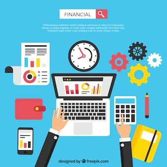 Modernes finanzkonzept mit laptop