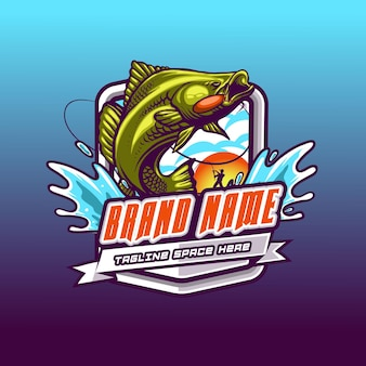 Modernes fischermaskottchen-logo-team