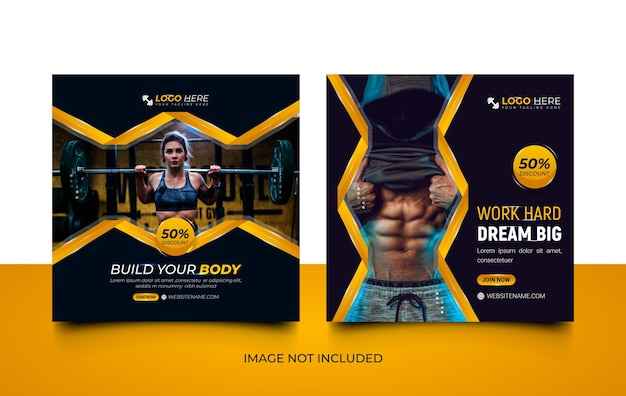 Modernes fitness-studio-social-media-vorlagen-design-set mit kreativen formen
