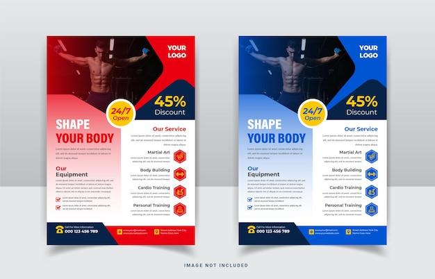 Modernes fitnessstudio und fitnessagentur flyer vorlagendesign