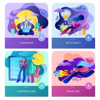 Modernes flachbild-app-set aus zeitmanagement, finanzmanagement und business.