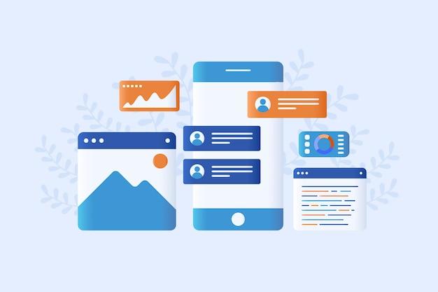 Modernes flaches artdesign der app-entwicklungsillustration