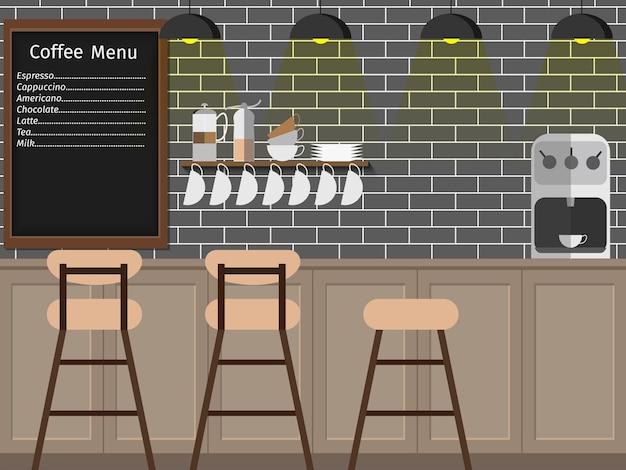 Modernes flaches design der kaffeestube, kaffeebarillustration