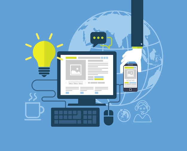 Modernes flaches design für webdesignillustration
