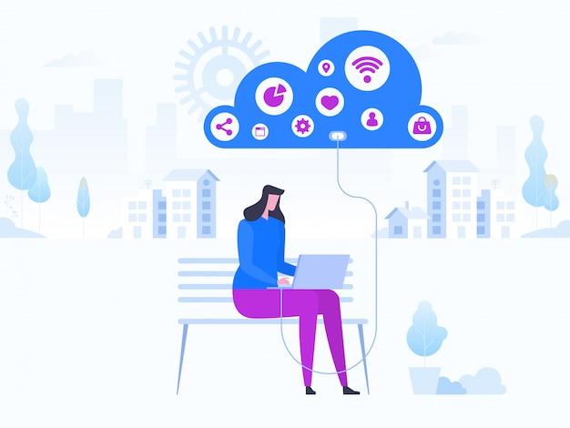 Modernes flaches design-konzept der cloud-technologie