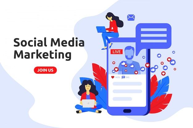 Modernes flaches design-konzept für social-media-marketing