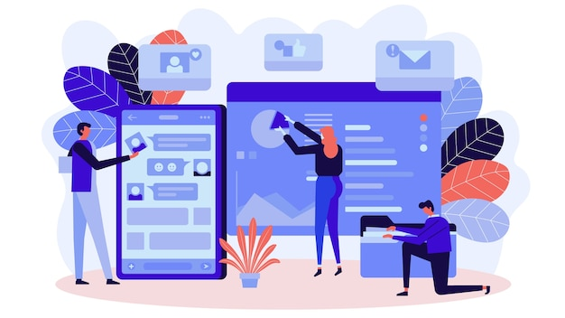 Modernes flaches designgeschäftskonzept für das marketing, zum für webdesign zu verwenden.