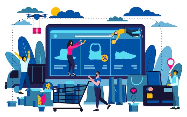 Modernes flaches designgeschäftskonzept für das on-line-einkaufen, zum für webdesign zu verwenden.