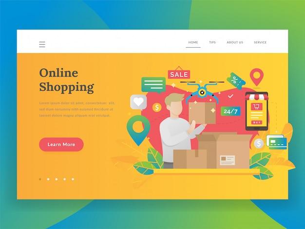 Modernes flaches designillustrationskonzept des online-einkaufens