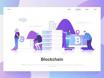 Modernes flaches Designkonzept Blockchain.